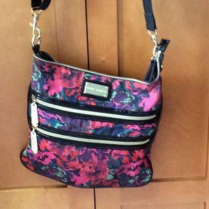 Betsey Johnson Floral Double Zip Crossbody Bag